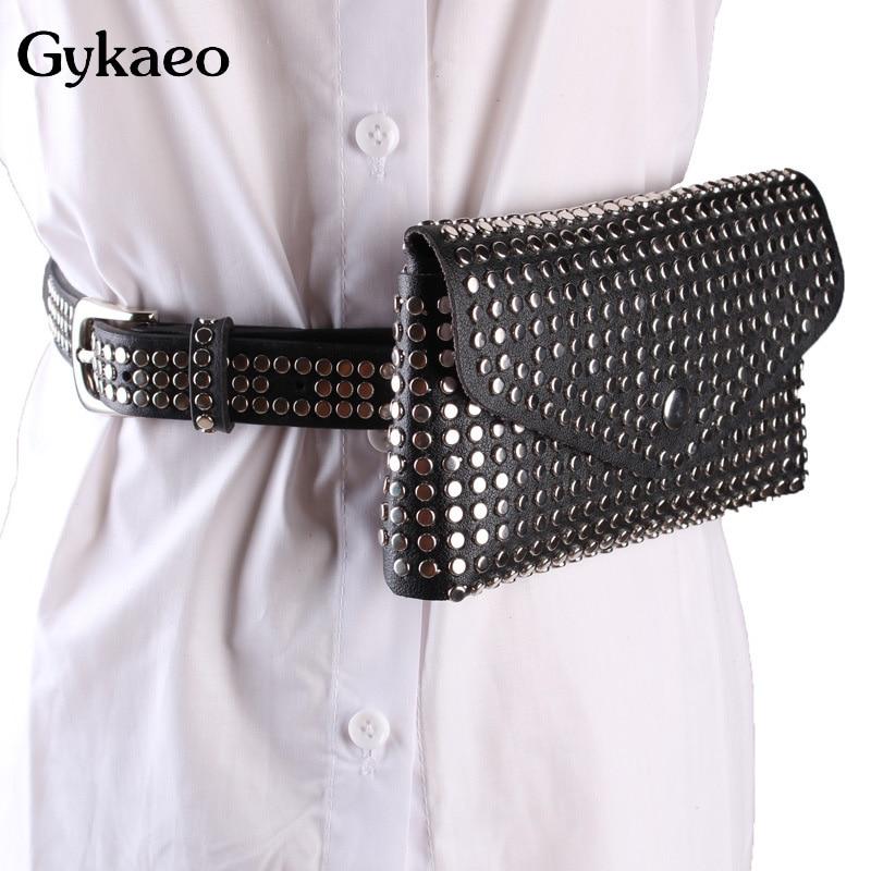 New 2020 Casual Punk Style Rivet Black Fanny Pack Waist Bag Antitheft Women Walking Shopping Band Belt Multi-function Clutch Bag