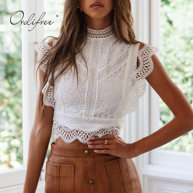 Ordifree 2019 Summer White Lace Blouse Top Short Sexy Sleeveless Lace Crochet Female Blouse Shirt