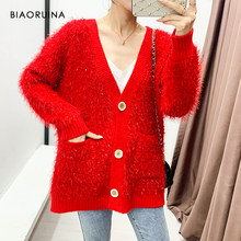BIAORUINA Women's Single Breasted Tassels Lurex Patchwork V-neck Fashion Knitted Cardigan High Street Loose Sweater One Size(China)