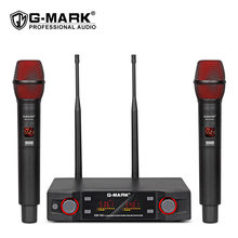 G-MARK EW100 Wireless Microphone Professional Handheld Cordless Karaoke Mic Frequency Adjustable 80M Distance For Stage Party