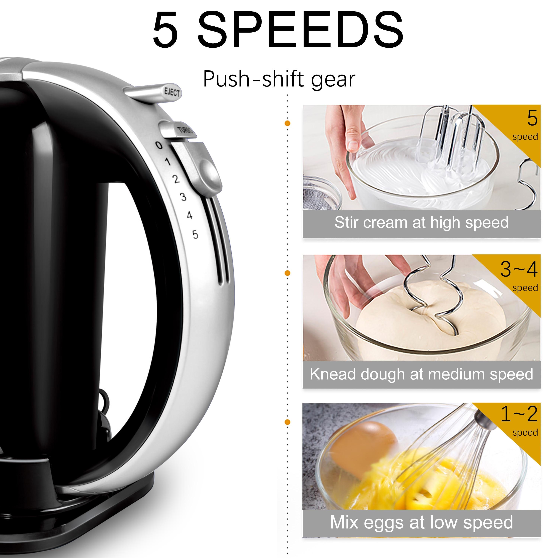 H302a97ba9bac48aab2c249c9253a52512 5 Speeds 300W Stainless Steel Food Mixers Dough Mixer 220v High Quality Dough Blender Egg Beater Hand Mixer For Kitchen Sonifer