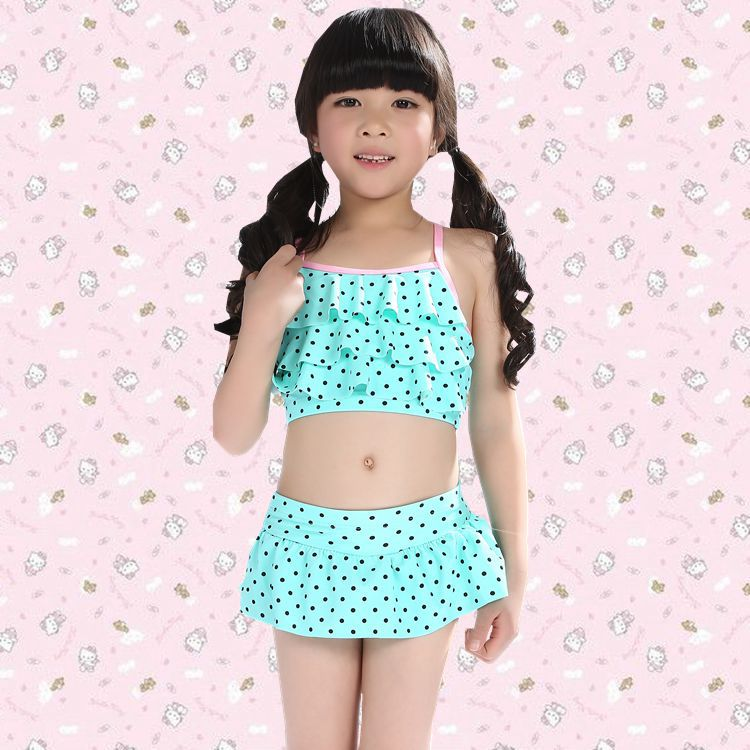 CHILDREN'S Bikini Cute Princess Chinlon Boxer Skirt Bathing Suit Medium-sized Child Tour Bathing Suit 10-13-Year-Old