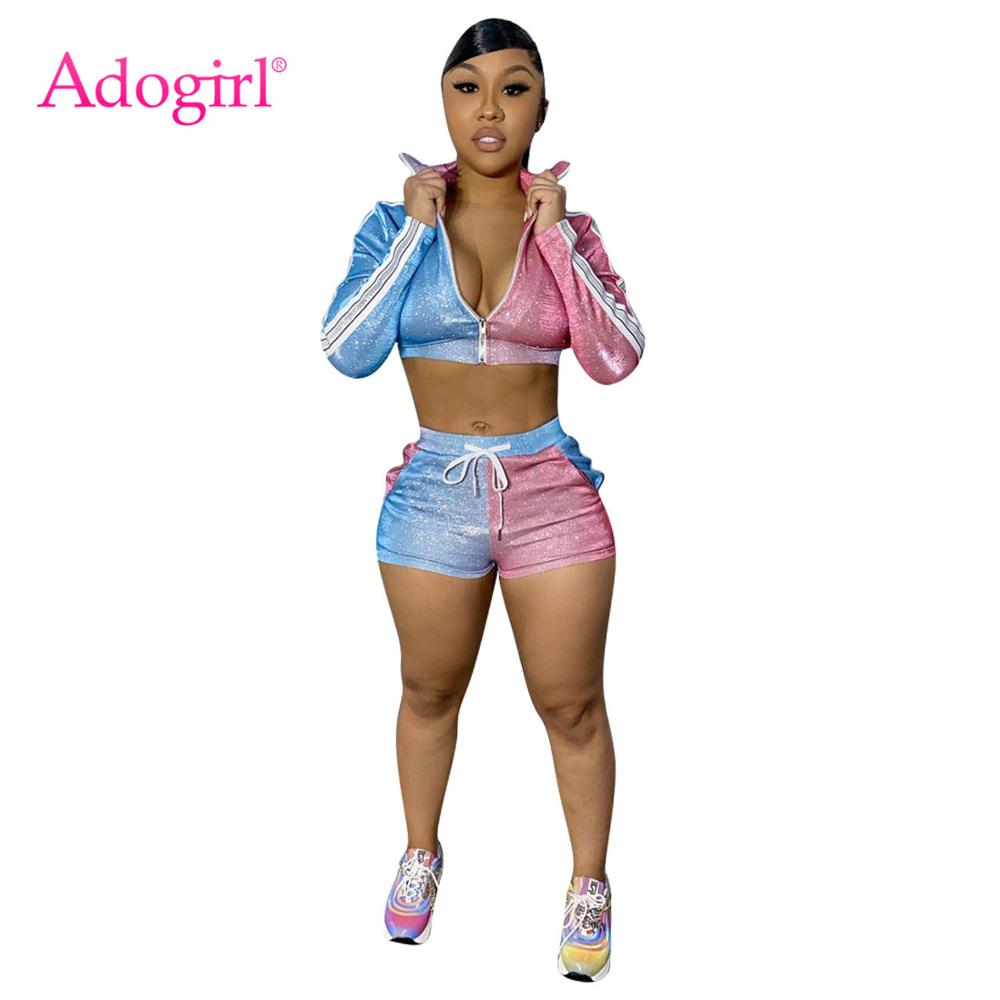 Adogirl Color Patchwork Shining 2 Piece Set With Zipper Fashion V Neck Straps Long Sleeve Crop Top Skinny Shorts Tracksuit