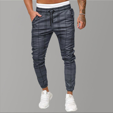 Causal Chinos Plaid Pants Men Joggers Grey Streetwear Pants Hip Hop Fashion Skinny Pants Men Tracksuit Trousers For Men