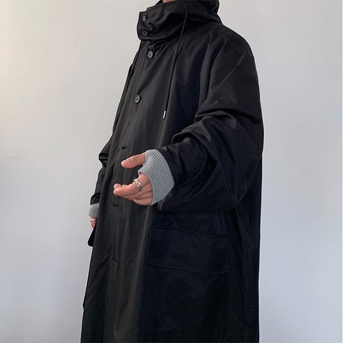 Мужское пальто свободного кроя с капюшоном, хлопковая стеганая длинная куртка для мужчин и женщин, уличная винтажная верхняя одежда, ветровка, плащ - 5