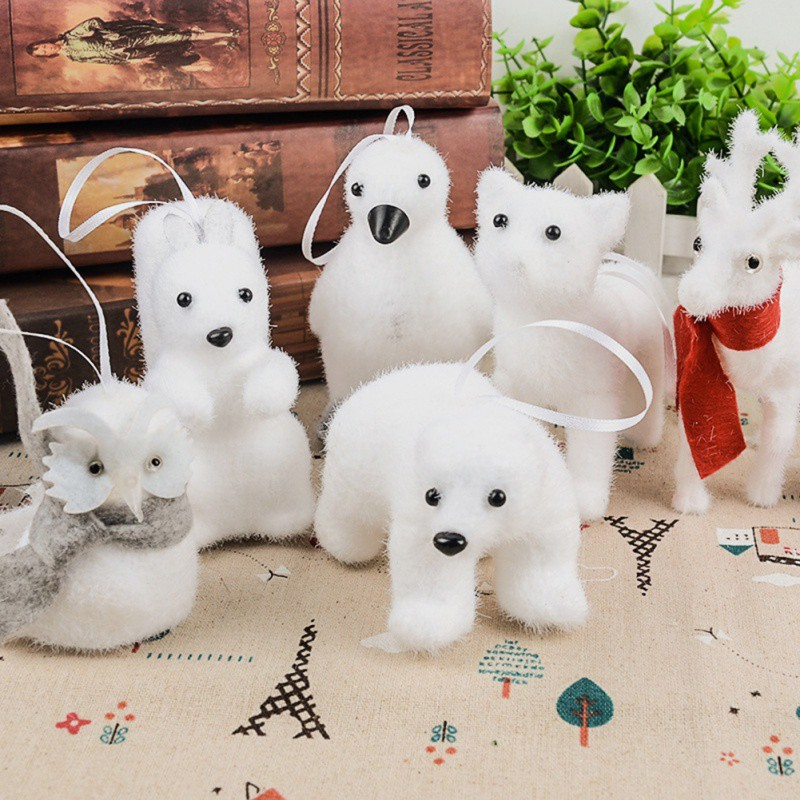 Christmas Tree Pendant White Cute Bear Fox Penguin Foam Hanging Decoration Kids Gift Party Home Room Decoration