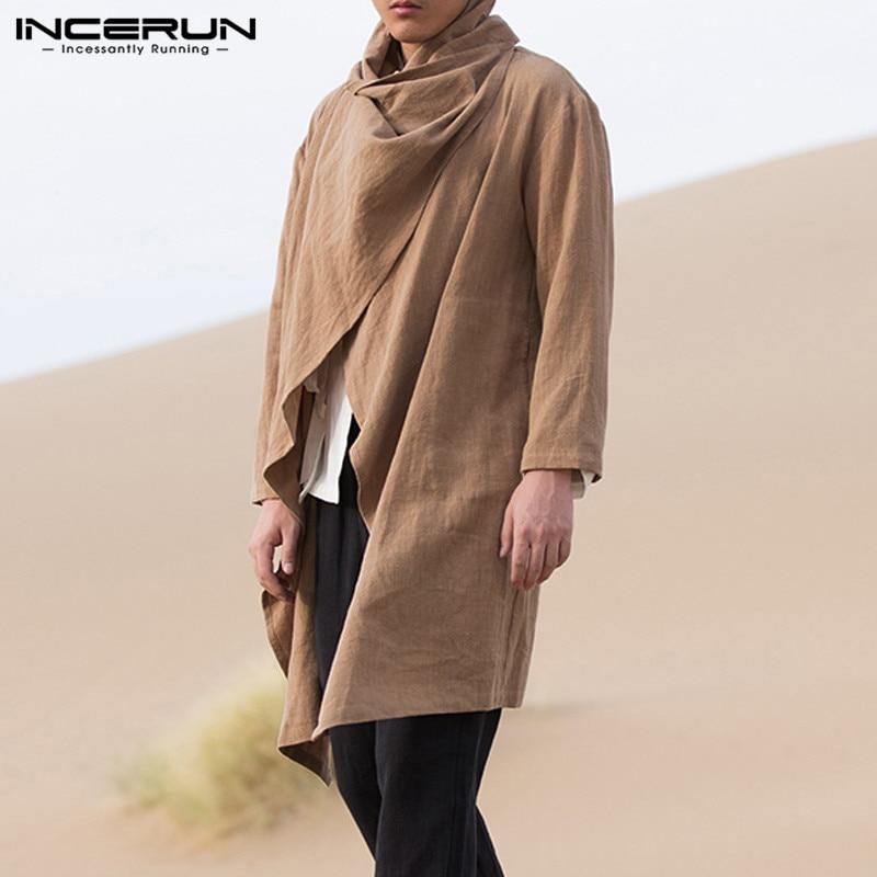 INCERUN Chinese Vintage Men Trench Coat Cotton Long Sleeve Scarf Collar Hip-hop Jacket Coats Men Cloak Outerwear Punk Streetwear