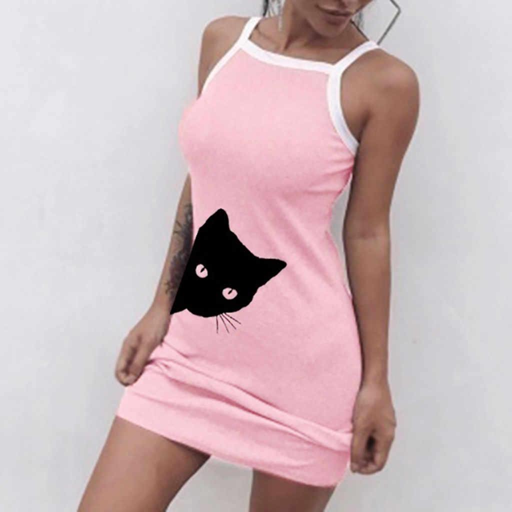 40 ^ 귀여운 고양이 인쇄 여름 패션 여성 캐주얼 섹시 슬림 미니 드레스 여성 파티 밤 Sundress Vestidos 가운
