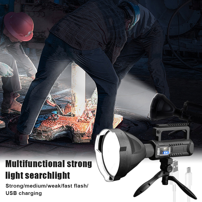 Rechargeable Searchlight Handheld LED Flashlight Spotlight 50W Electric Torch as Power Bank Power Display SDF-SHIP