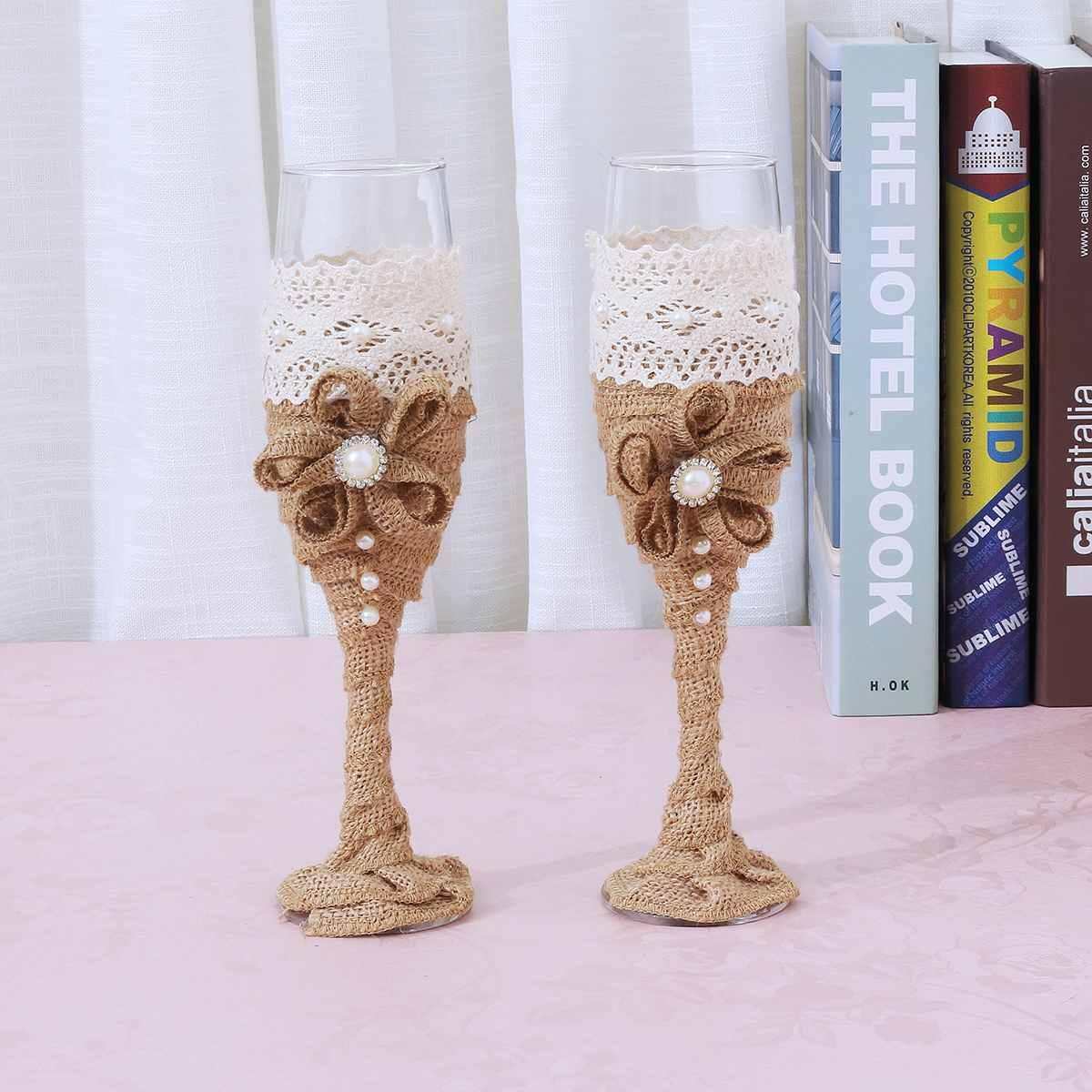 Одна пара свадебное вино хрустальные винтажные бокалы для шампанского льняные бокалы для питья вечерние свадебный подарок домашнее свадебное украшение