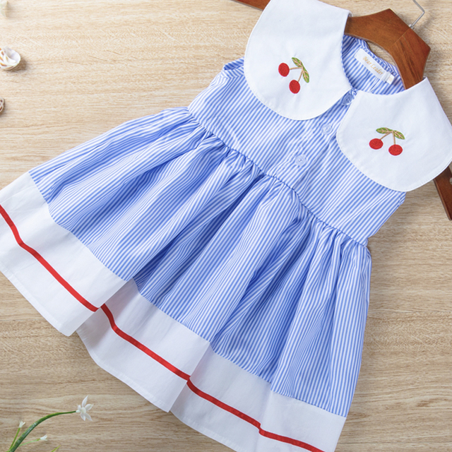 Flying Sleeve Casual Girl Party Dress 2-7Y