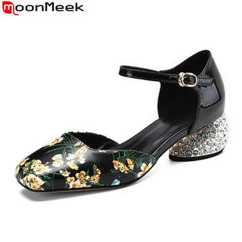 MoonMeek 2020 big size 33-43 fashion party wedding shoes genuine leather buckle women pumps summer shallow ethnic ladies sheos