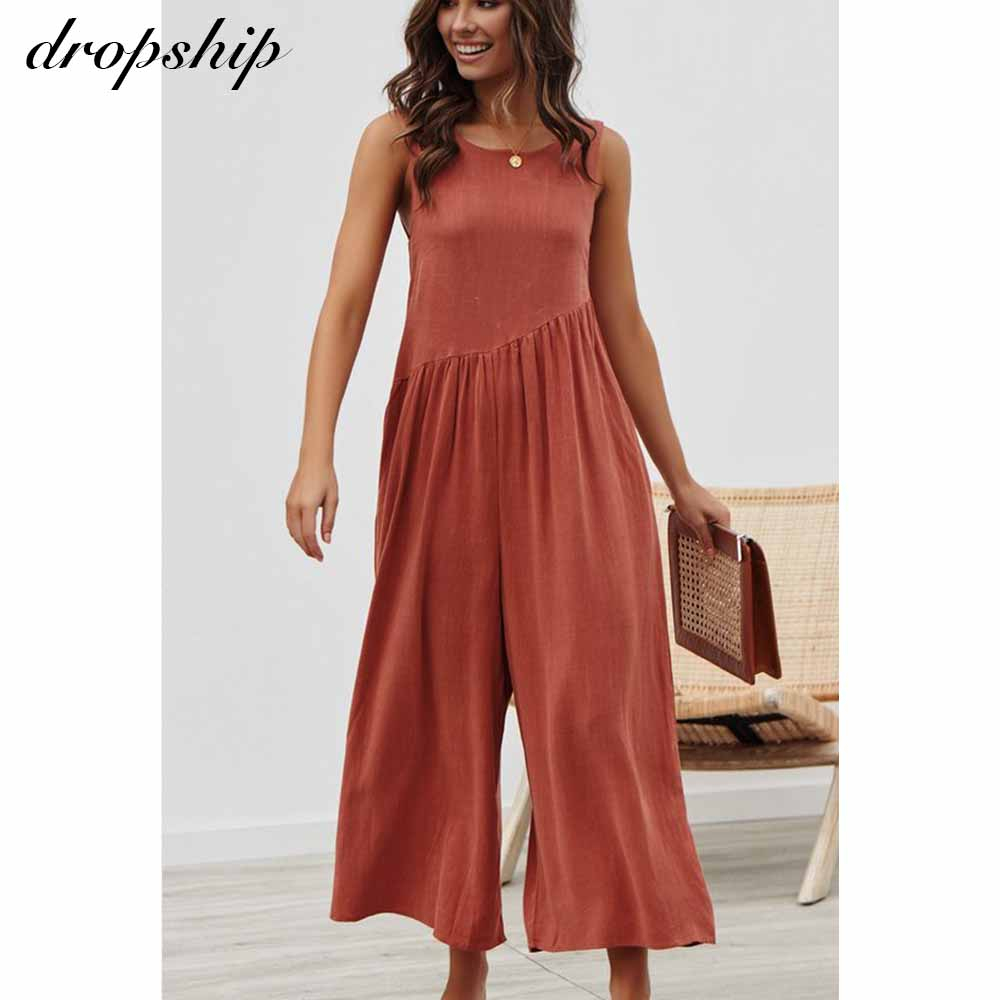 Dropship Elegant Jumpsuit Women Summer Overalls Backless Ruffled Off Shoulder Solid Playsuit Jumpsuit Women Party Summer