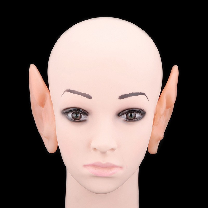 1 Pair Halloween PVC Fake Elf Ears fairy wings Pixie Halloween Mask Party Mask Scary Soft Pointed Prosthetic Ears (2)