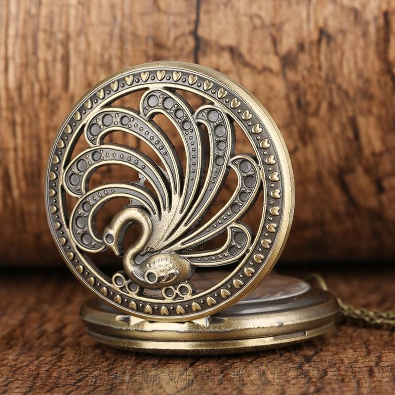Antique Peacock Quartz Pocket Watch Retro Style Hollow Beauty Necklace Pendant Creative Gift Animal Watch Art Collectibles Reloj