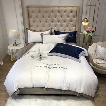 European style bedding 4PCS home imitation silk solid color bed cover king queen size ice silk quilt cover bed sheet pillowcase