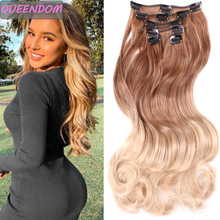 Hair-Extensions Black Brown Ombre 12-Clips 130-Gram Hairpiece Fake-Hair Blonde Heat-Resistant-Fiber