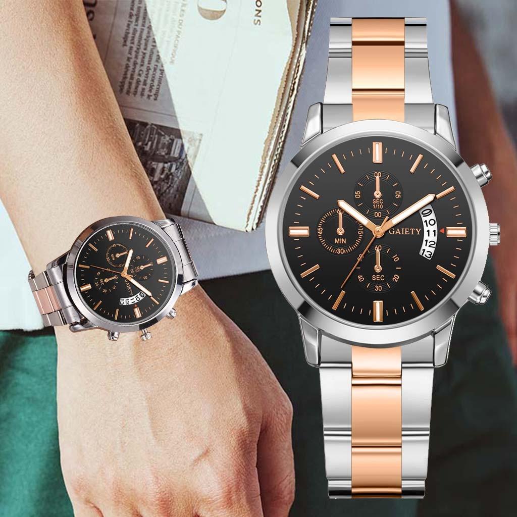2019 Relogio Masculino New Luxury Band Men Fashion Stainless Steel Calendar Multi Needle Sports Quartz Watch Erkek Kol Saati