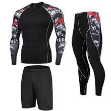Homem de fitness crânio correndo collants ginásio calças de treino para esportes conjunto compressão jogging roupas leggings rashgard