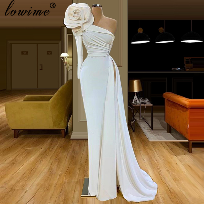 2020 Dubai Muslim Long Prom Gowns Mermaid One Shoulder Formal Robe De Soiree Elastic Arabic Cocktail Dress Women Vestidos Custom
