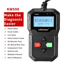 2019 Diagnostic Tool KONNWEI KW590 Car Code Reader automotive OBD2 Scanner Support Multi-Brands Cars&languages Free Shipping 2017 launch creader crp123 code scanner support for multi brand car diagnostic tool crp 123 car code reader multi language