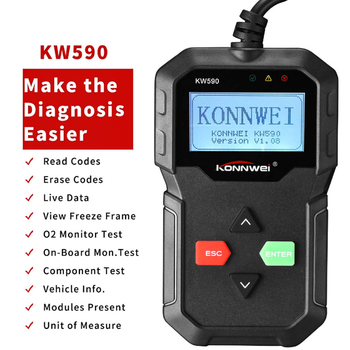 цена на 2019 Diagnostic Tool KONNWEI KW590 Car Code Reader automotive OBD2 Scanner Support Multi-Brands Cars&languages Free Shipping