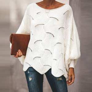 Women Sweaters Knitwear Loose Hollow-Out Femme Lantern-Sleeve Ruffle Casual Fashion O-Neck