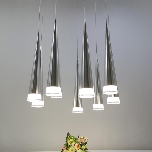 الحديثة led مخروطي قلادة ضوء الألومنيوم معدن المنزل الإضاءة الصناعية مصباح معلق الطعام غرفة المعيشة مقهى droتحكم تركيبات