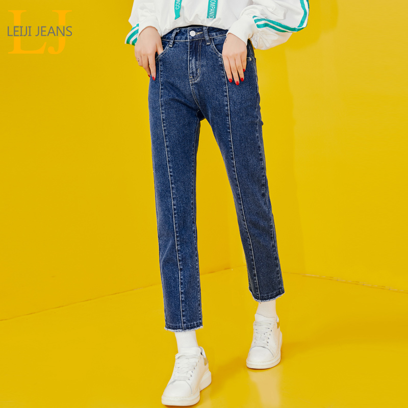 LEIJIJEANS New Arrival Dark Blue Mid-rise Straight Ladies Jeans Fashion Casual Nine Points Plus Size Jeans 9093