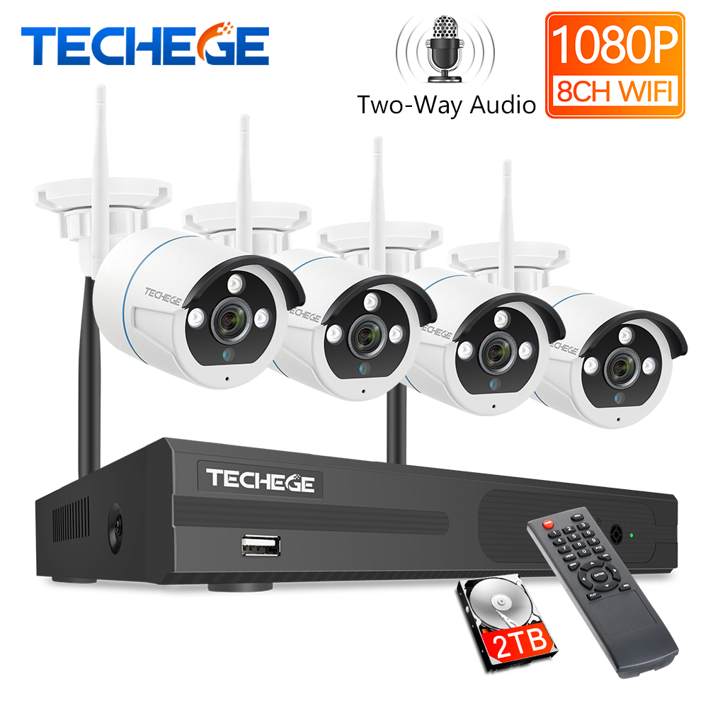 Techege 8CH 1080P HD Wireless Camera CCTV System Two Way Audio 2MP Waterproof Outdoor Email Alert WIFI Video Surveillance Kit