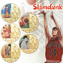 Hot SLAM DUNK Gold Plated Coins Collectibles with Coin Gift Box Japanese Challenge Coin Set Medal Original Gift For Man(China)