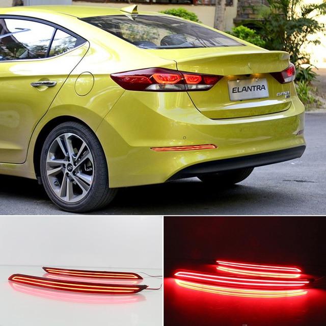 CSCSNL 1 Pair LED Reflector Car Rear Bumper Light Parking Stop Brake Lamp Taillight For Hyundai Elantra 2016 2017 2018 2019