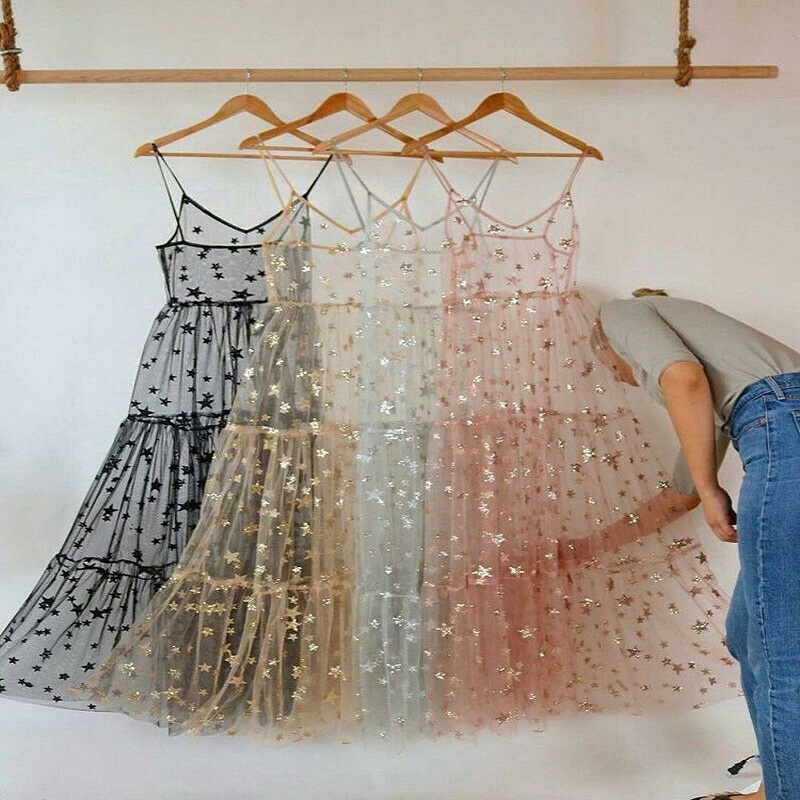 2019 Summer Fashion Spaghetti Straps Tulle Long Women Dresses Sweet Bling Bling See Through Dress For Sexy Ladies