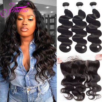 Body Wave Bundles with Frontal Closure Peruvian Hair Bundles with Closure Remy Human Hair Bundles with 13*4 Ear to Ear Closure image