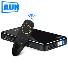 AUN MINI Portable Projector X2, 2G+16G Voice Control, Android 7.1 5G WIFI Battery, Pocket 3D Video Beamer for 1080P Home Cinema mini projector dl s9 portable dlp wifi bluetooth projector dlna android4 4 os battery home cinema