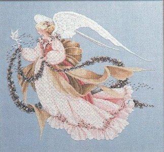 Kit de points de croix comptés, Collection en or, ange de déesse féerique dété avec colombe doiseau