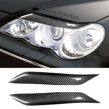 Real Crabon Fiber Head light Eyelid Eyebrow Cover Trim 1pair for Toyota Reiz 2004-2009 T231 1