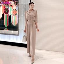 2019 autumn new womens Korean version of the professional temperament suit collar belt sleeves loose jumpsuit