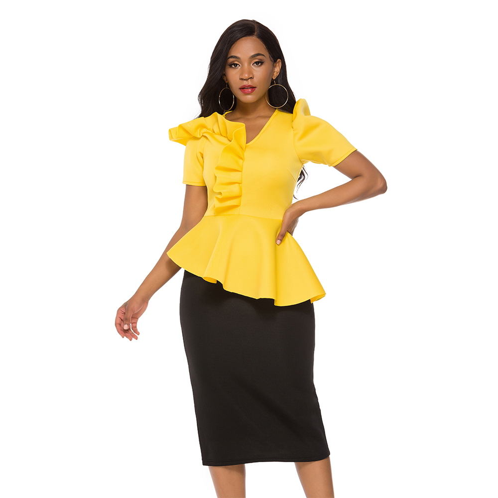 Women 2 Pieces Sets Yellow Tops Blouse Peplum Black Pencil Skirts High Waist Female Suits Elegant Classy Ladies Work Fashion