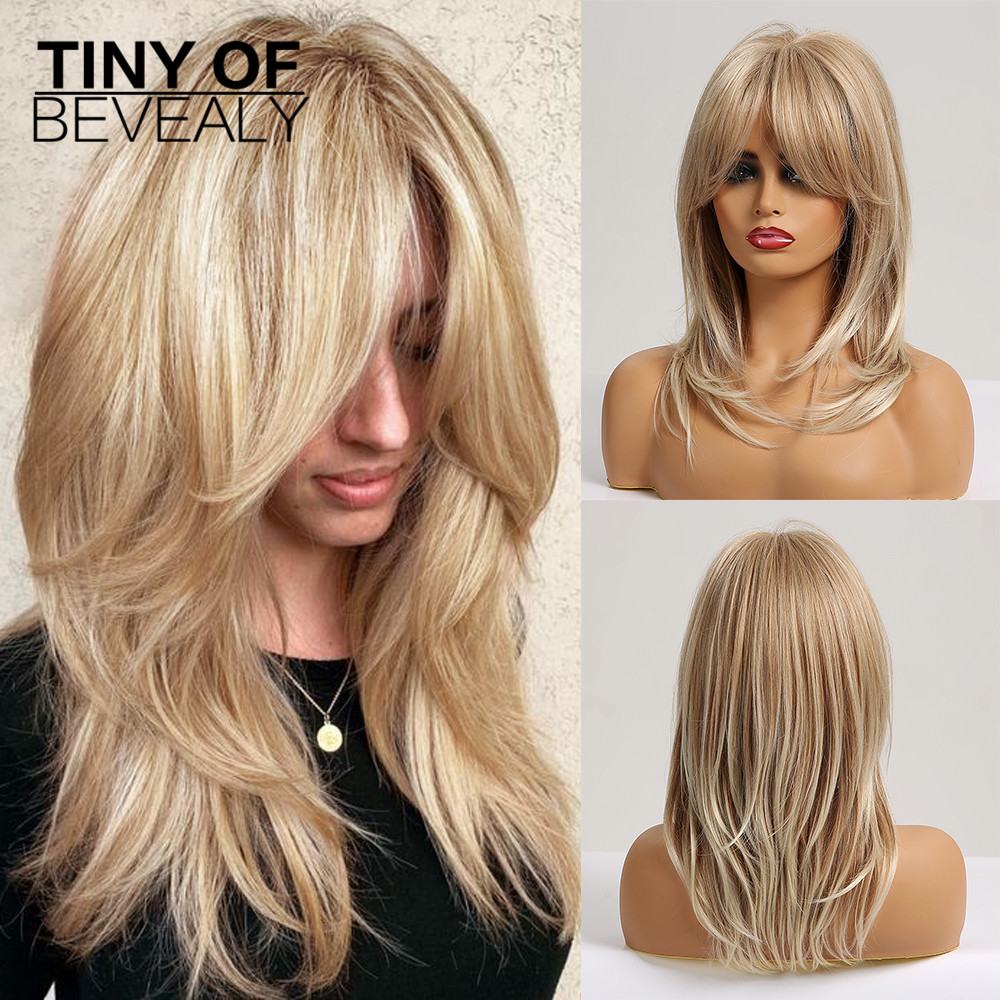 Long Ash Blonde Layered Wigs With Bangs Natural Wavy Wigs For Women Cosplay Synthetic Wigs Heat Resistant Fiber