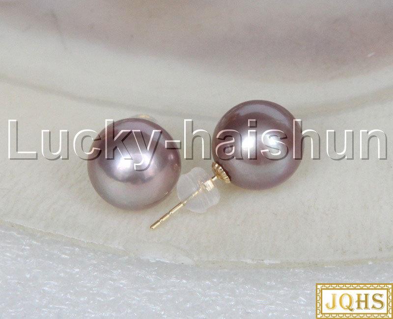 AAA naturel 10mm rond violet mer du sud perles perles boucles d'oreilles 14KT or poste j12364 - 5