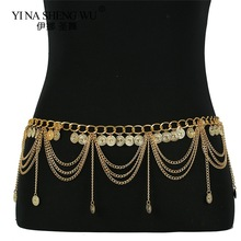 Vintage Gypsy Metal Dangle Waist Belt Chain Carved Coin Pendant Long Tassel Harness Belly Chains Women Body Accessories Jewelry