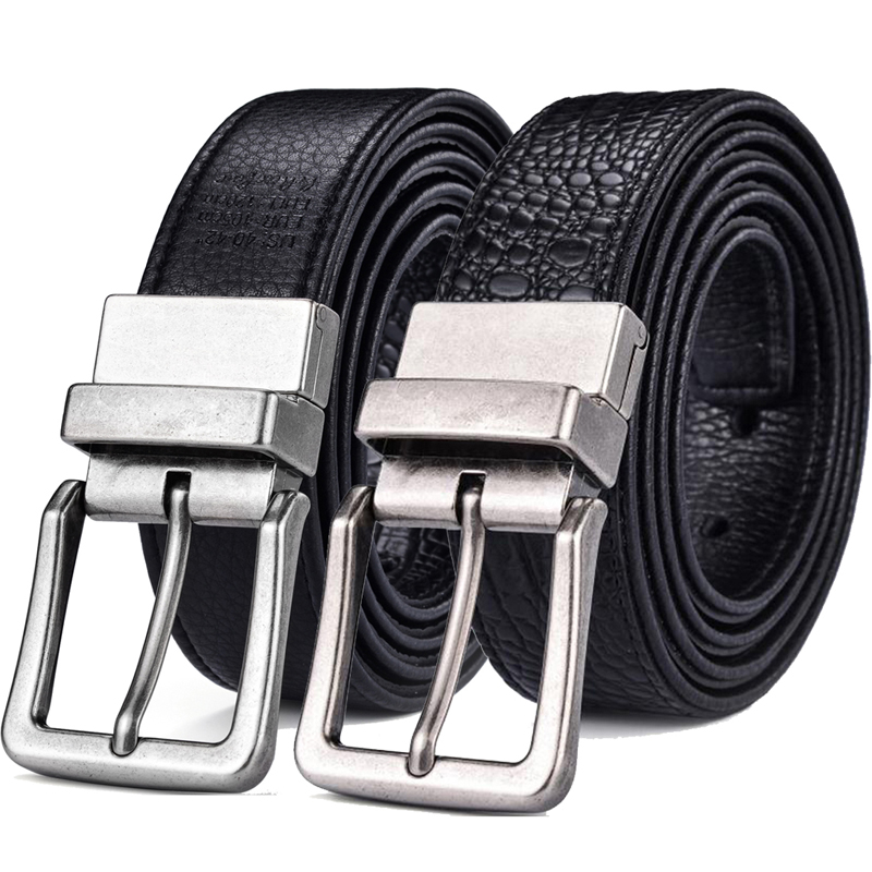 Men's Classic Reversible Leather Belt Crocodile Mens Jeans With Double Sided Strap And Antique Buckle 2 In 1 Big & Tall Sizes