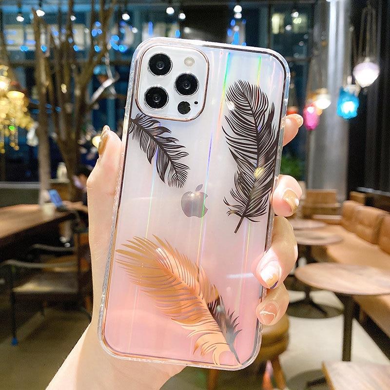Funda de teléfono con pluma láser gradiente para iPhone, carcasa trasera transparente a prueba de golpes para iPhone 11 12 Pro Max 12Mini XR XS Max X 7 8 Plus 4