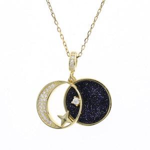 Collar con colgante de luna de estrella, cadena de oro de Plata de Ley 925, collares de circón, accesorios para mujeres, joyería de diseñador Kolye
