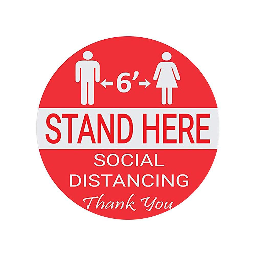 Wait Here Stand Here Keep 6ft in Between Distance Marker Floor Decal for Social Distance While in Line - 6.75