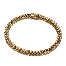 Unique Gold Color Miami Curb Link Chain Bracelet For Mens Womens Jewelry Stainless Steel 6mm Shiny Dragon Clasp