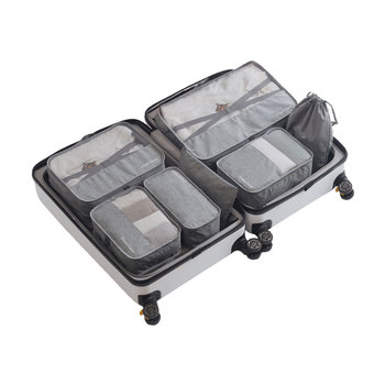 7 Pcs/set Compression Travel Packing Cubes Waterproof Luggage Organizer Visibility Mesh Polyester Travel Accessories Packing Bag