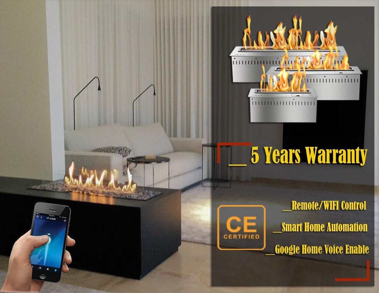 Hot Sale 60 Inches Remote Fireplace Ethanol Burner Wifi Control Modern Chimney