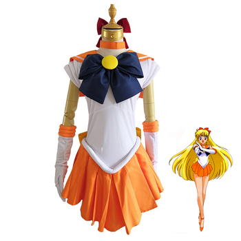 2020 New Anime Sailor Moon Cosplay Costume Sailor Venus Costumes Carnaval/Halloween Costumes for Women/Kids Custom Any Size 1